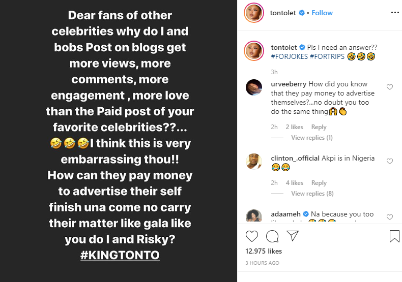 Capture 342 - Why Do I And Bob's Posts Get More Views On Blogs? – Tonto Dikeh Shades Nigerian Celebrities