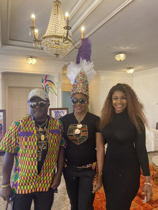 Tacha, Governor of Cross River State, Professor Ben Ayade and his wife, Linda