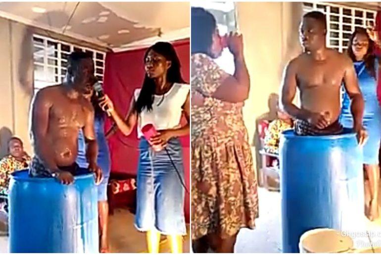 Ghanaian pastor baths in church