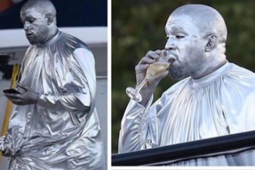 Kanye West Dons Full Silver Outfit For New Show (Photo)
