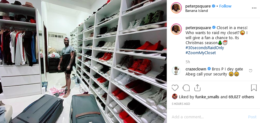 "Screenshot 2019 12 03 Mr P peterpsquare • Instagram photos and videos1 - ""Who Wants To Raid My Closet?"" – Peter Okoye Flaunts His Luxury Wears (Photo)"