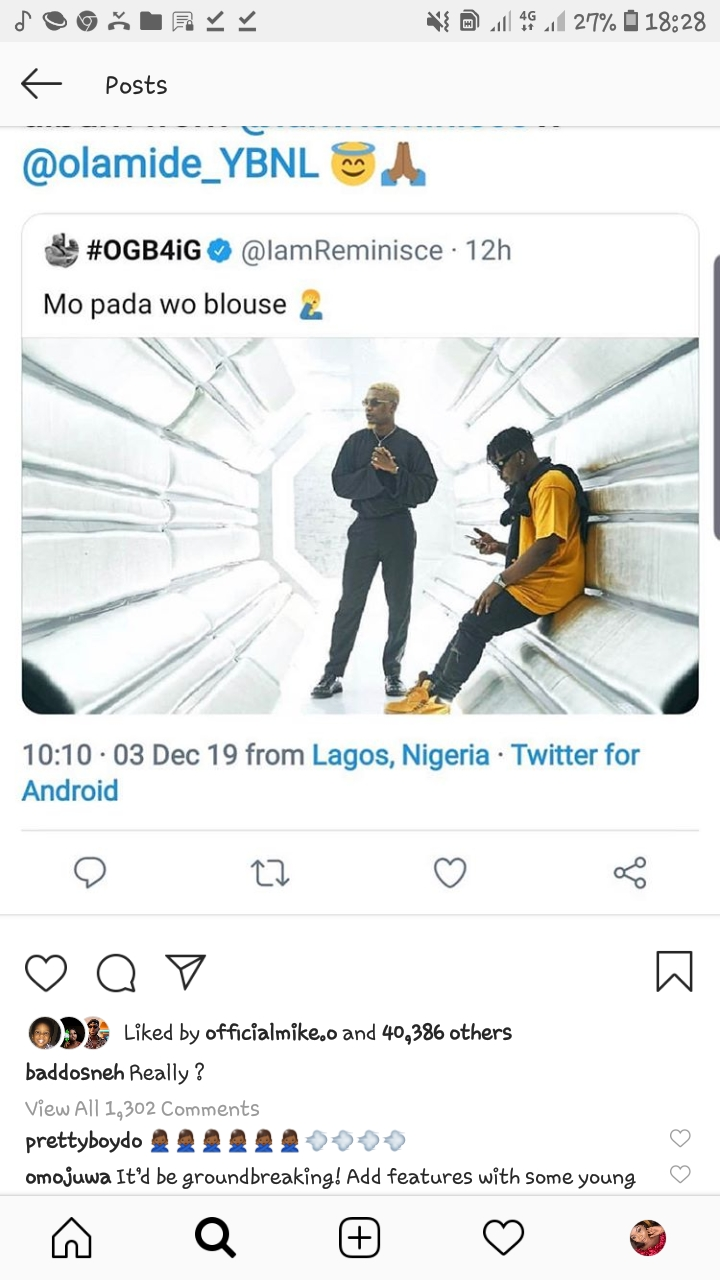 Screenshot 20191203 182834 Instagram - Olamide Reacts As Fans Beg Him To Release Joint Album With Reminisce