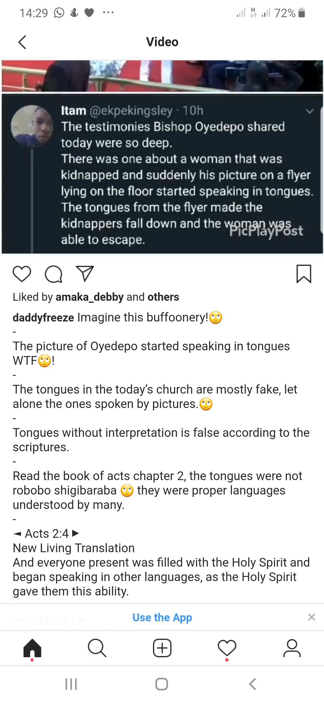 Screenshot 20191208 142903 Chrome - Tongues In Most Churches Today Are Fake: Daddy Freeze
