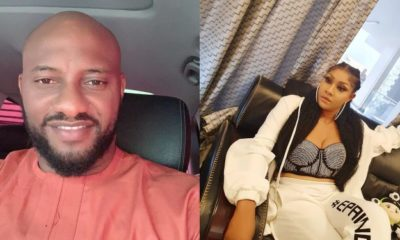 Collage photo of Yul Edochie and injured actress, Angela Okorie