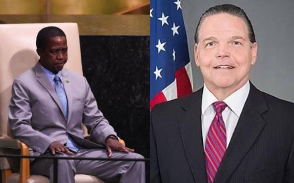Zambia's president Edgar and US Ambassador