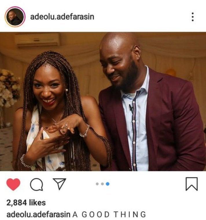Photos of man, identified as Adeolu Adefarasin and his fiancee