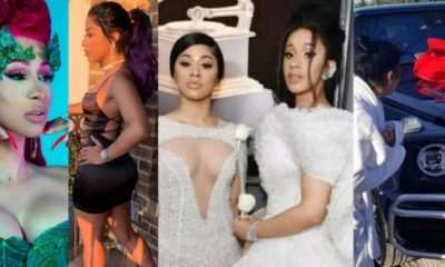 Collage photo of Cardi B and sister Henessy