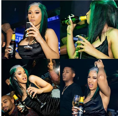 Cardi B while drinking her stout