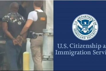 collage photo of FBI while arresting a man and US Immigration flag