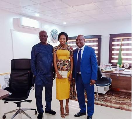 Cindy Okafor, , Dr. Okezie Ikpeazu and Abia state commissioner for information, John Okeiyi Kalu