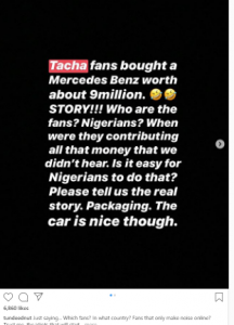 ed 3 216x300 - Who Are The Fans? Tunde Ednut Raises Eyebrow Over Car Gift To Tacha