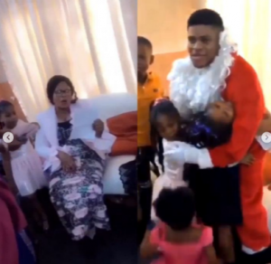 The man while surprising his family