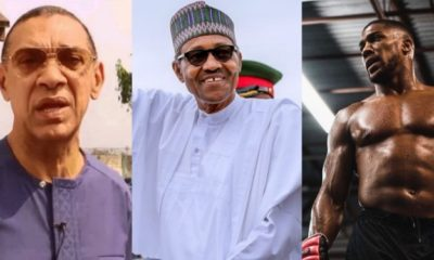 Collage photo of Ben Murray Bruce, President Buhari and Anthony Joshua