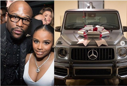 Floyd Mayweather while presenting the G Wagon to daughter