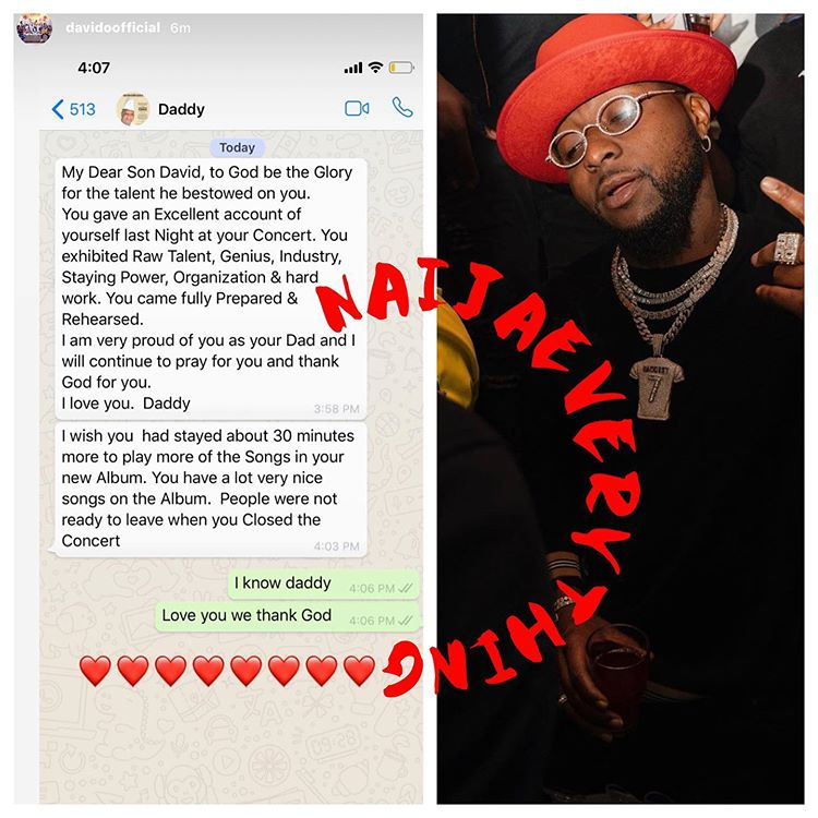 Davido and his father's chat