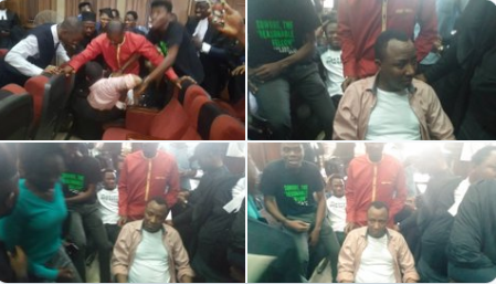 Omoyele Sowore while DSS tried to arrest him