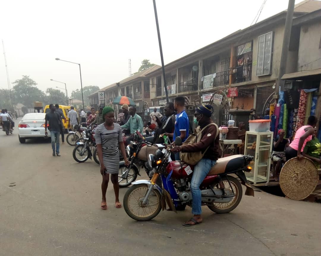 Okada riders park at Agege