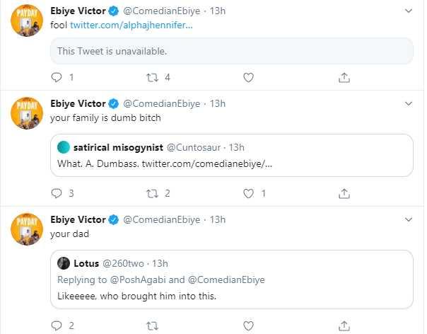 The exchange between Ebiye and Twitter Users