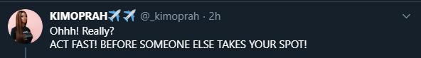 Kim Oprah's tweet