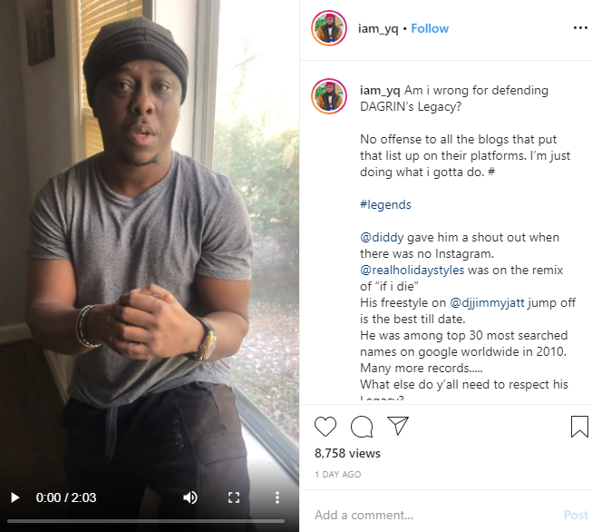 Capture 79 - Singer YQ Blasts Media For Leaving Dagrin's Name Out Of 'Artistes Of The Decade' Lists