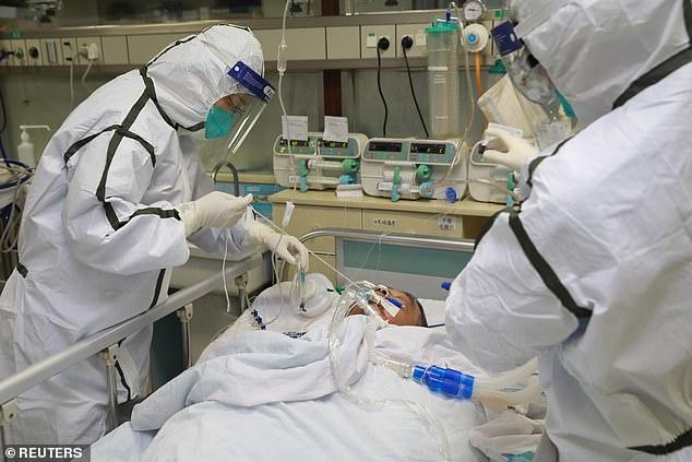 Coronavirus patient on sick bed