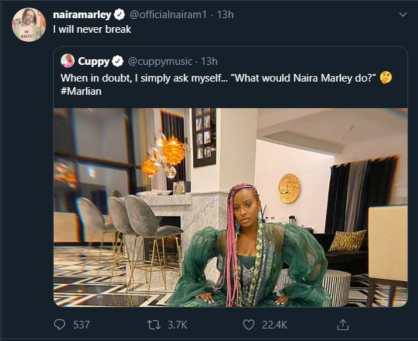 NM - Rapper Reacts After DJ Cuppy Asks 'What Will Naira Marley Do?' (Photo)