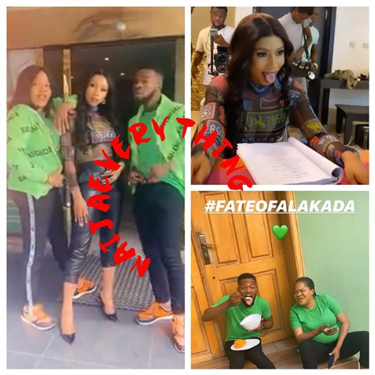 Mercy Eke on set of Fate of Alakada: The Party Planner
