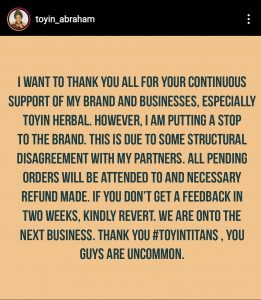 Screenshot 20200110 151754 Instagram 261x300 - Nollywood Actress, Toyin Abraham Shuts Down Fertility Business
