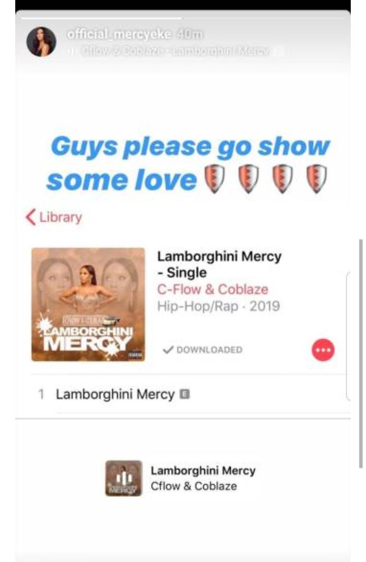 Screenshot of Mercy's post