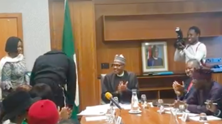 Anthony Joshua Prostrates Before President Buhari (Video)