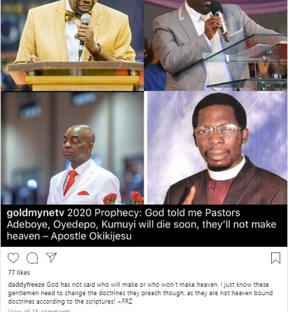 o 2 - Daddy Freeze Reacts To Apostle Okikijesu's Prophecy That Popular Pastors Would Die Without Making Heaven