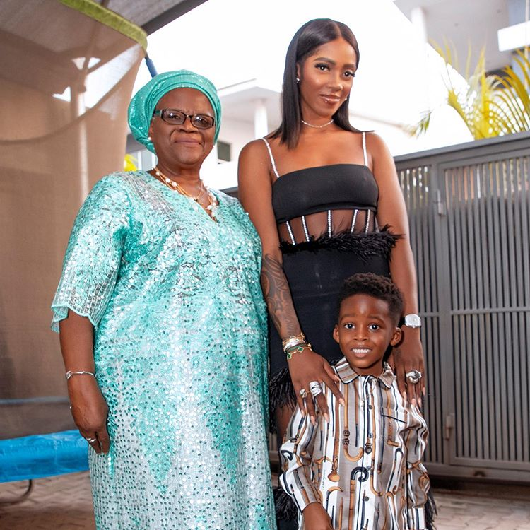 Tiwa Savage, her mom and son