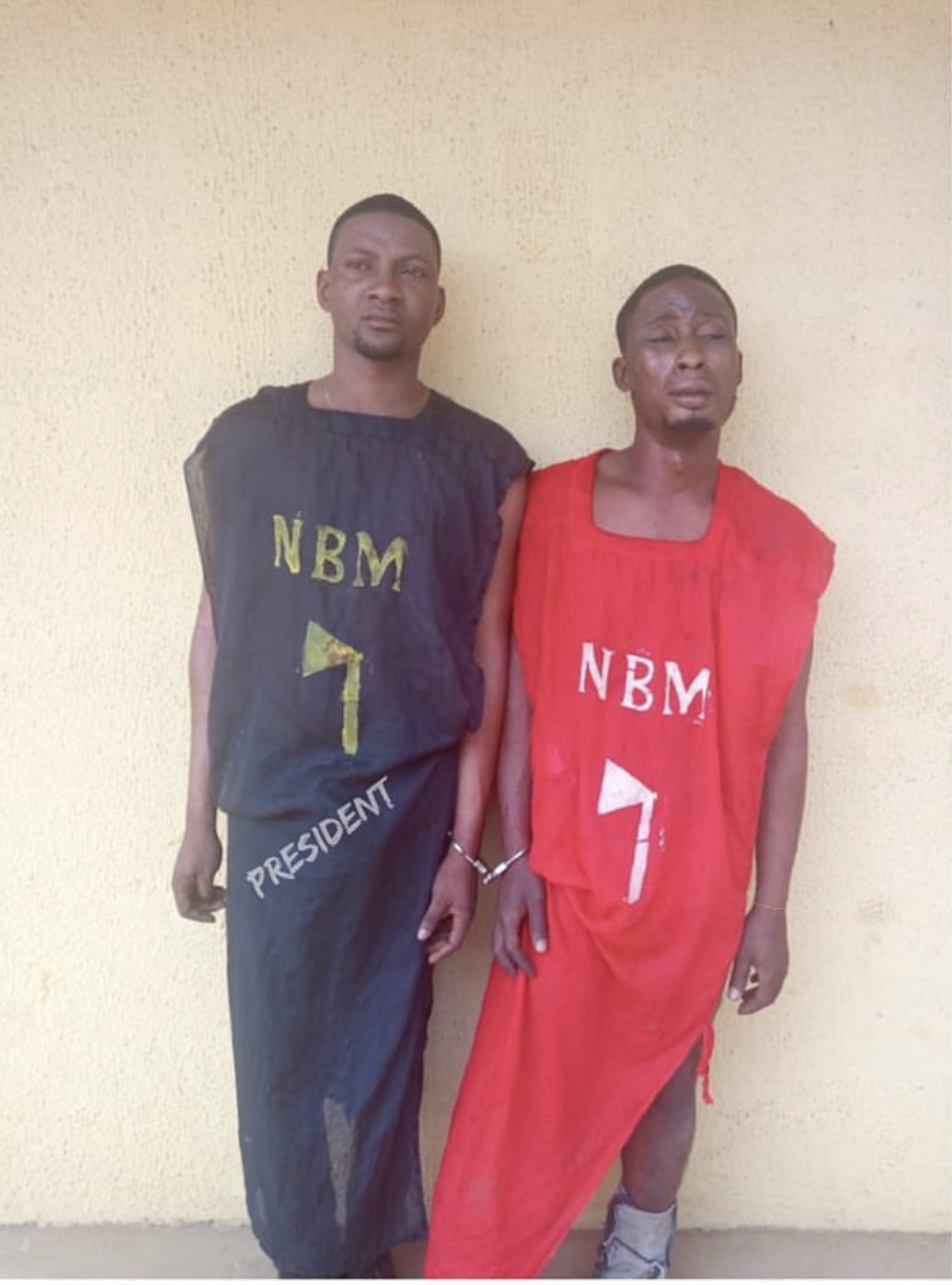 The President of Students Union Government, SUG, Adegboye and another cult member