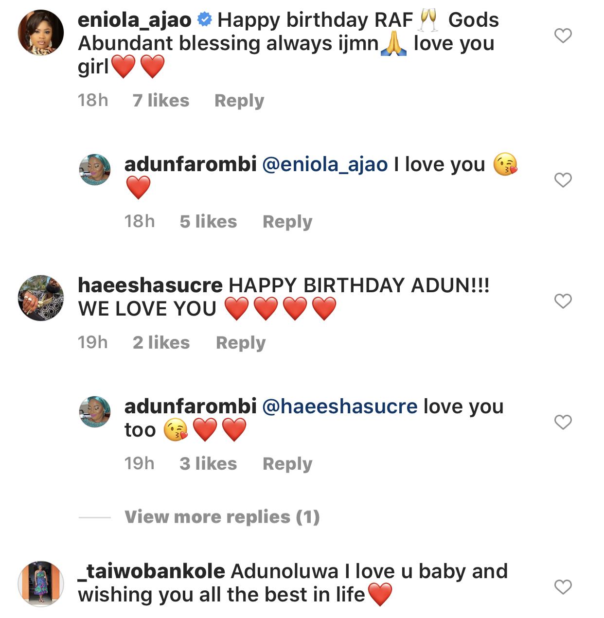 Moji Olaiya's colleagues celebrating Adun