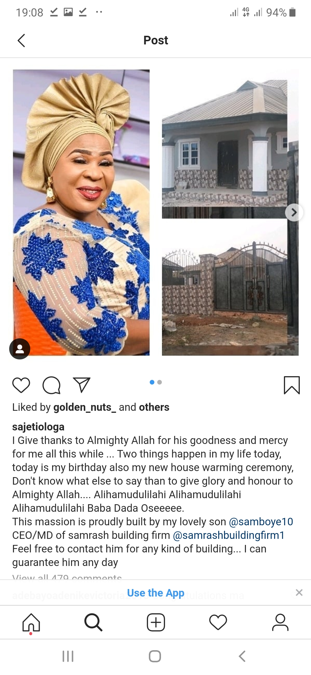 Screenshot 20200213 190807 Chrome - Fausat Balogun Marks Birthday With House Warming Party