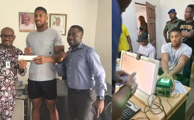Anthony Joshua with NIMC officials
