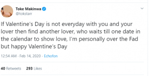 c 8 300x155 - If Valentine's Day Is Not Everyday With You And Your Lover, Find Another Lover – Toke Makinwa