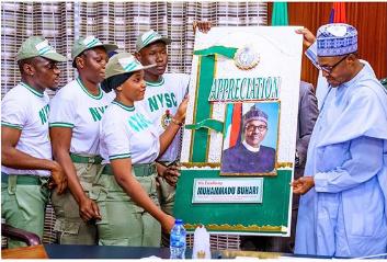 The corp members while visiting Buhari