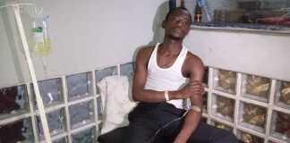 Nosa Aigbogun on hospital bed