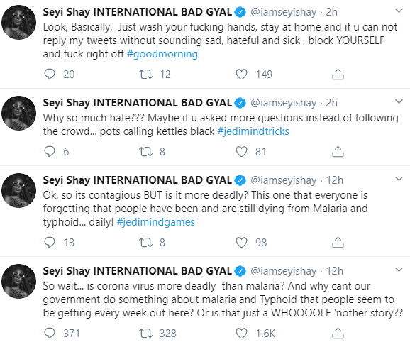 The singer's tweets
