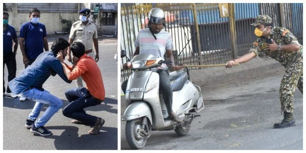 photo of India security operatives beating people who refused to stay indoor over coronavirus pandemic