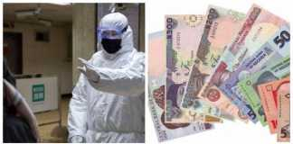 Photo of health workers and some Naira notes