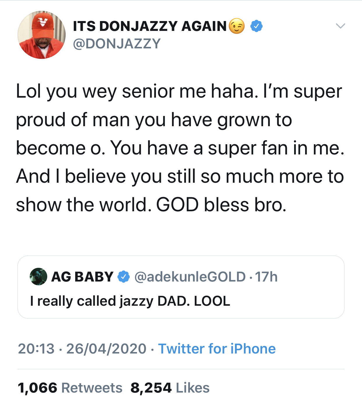 Don Jazzy's reaction