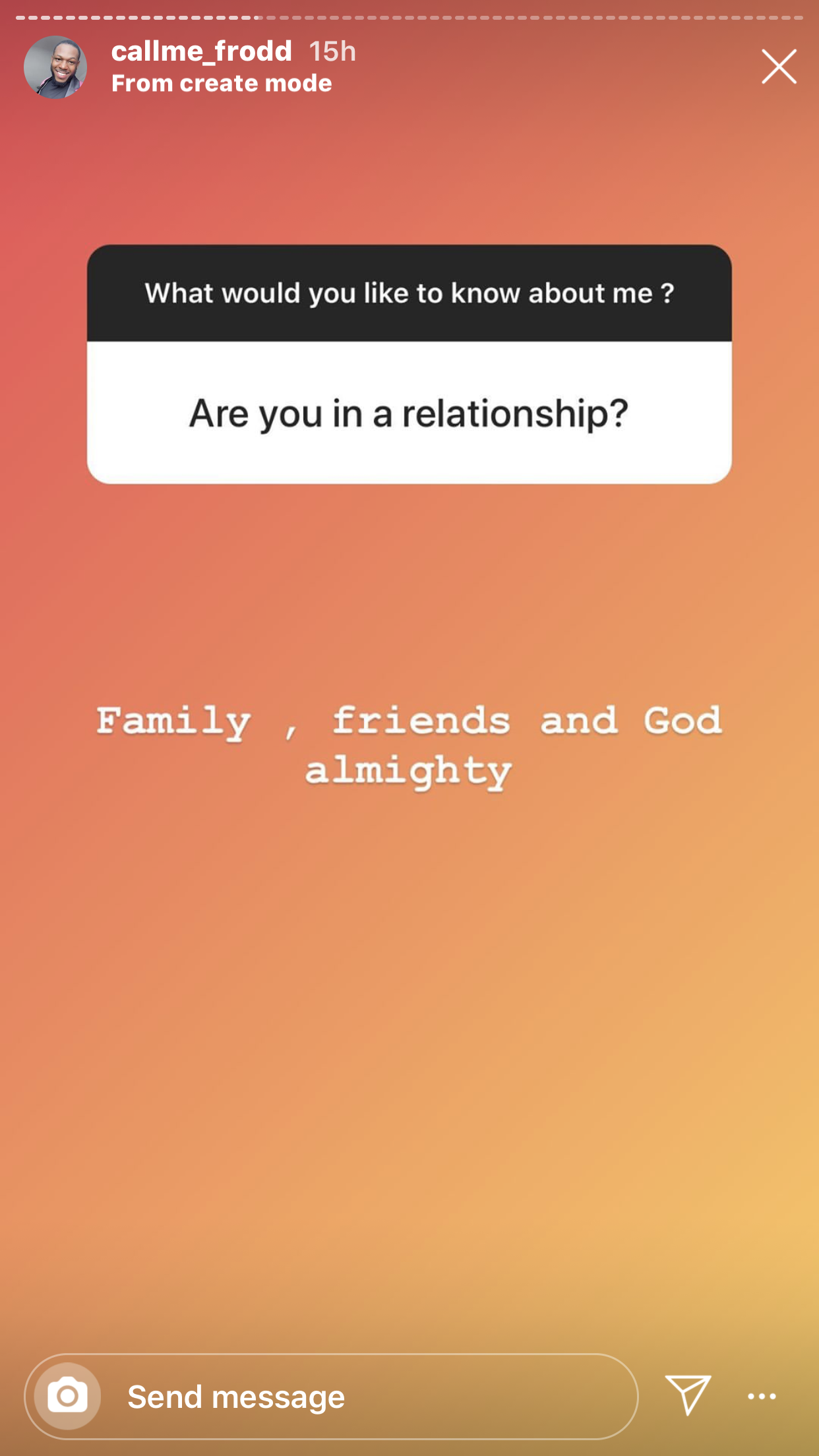 Screenshot of the QnA session on IG