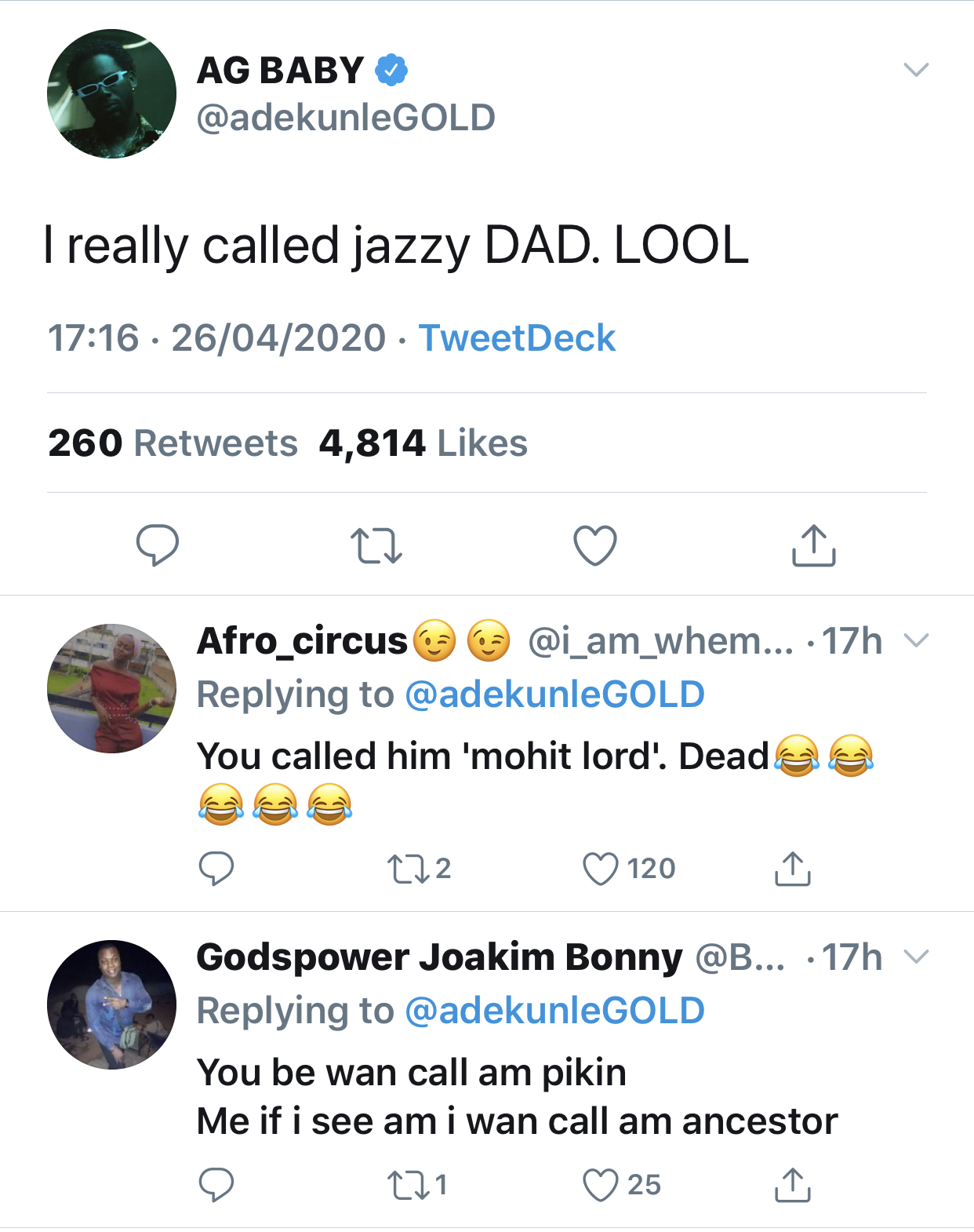 Adekunle Gold's tweet