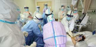 Medical staff treating a critical patient infected by the coronavirus