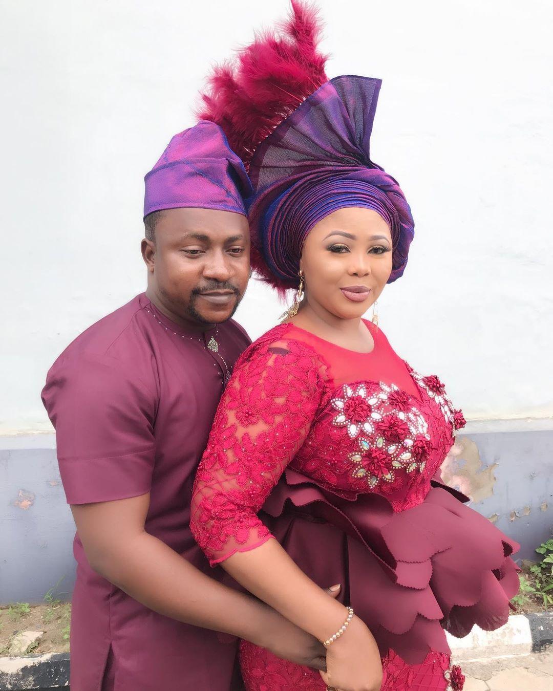 Actor Segun Ogungbe and second wife, Omowunmi