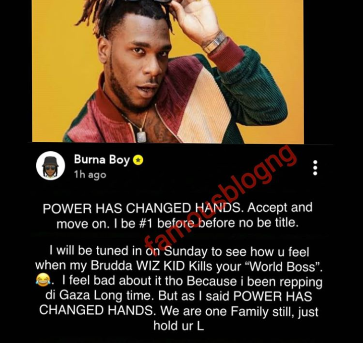 Burna Boy's post