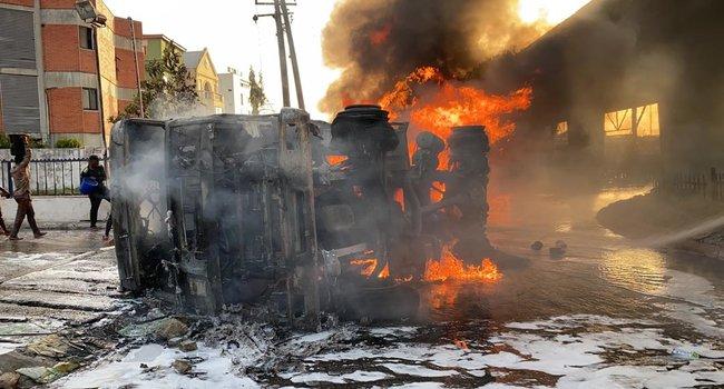 Tanker Bursts into flames