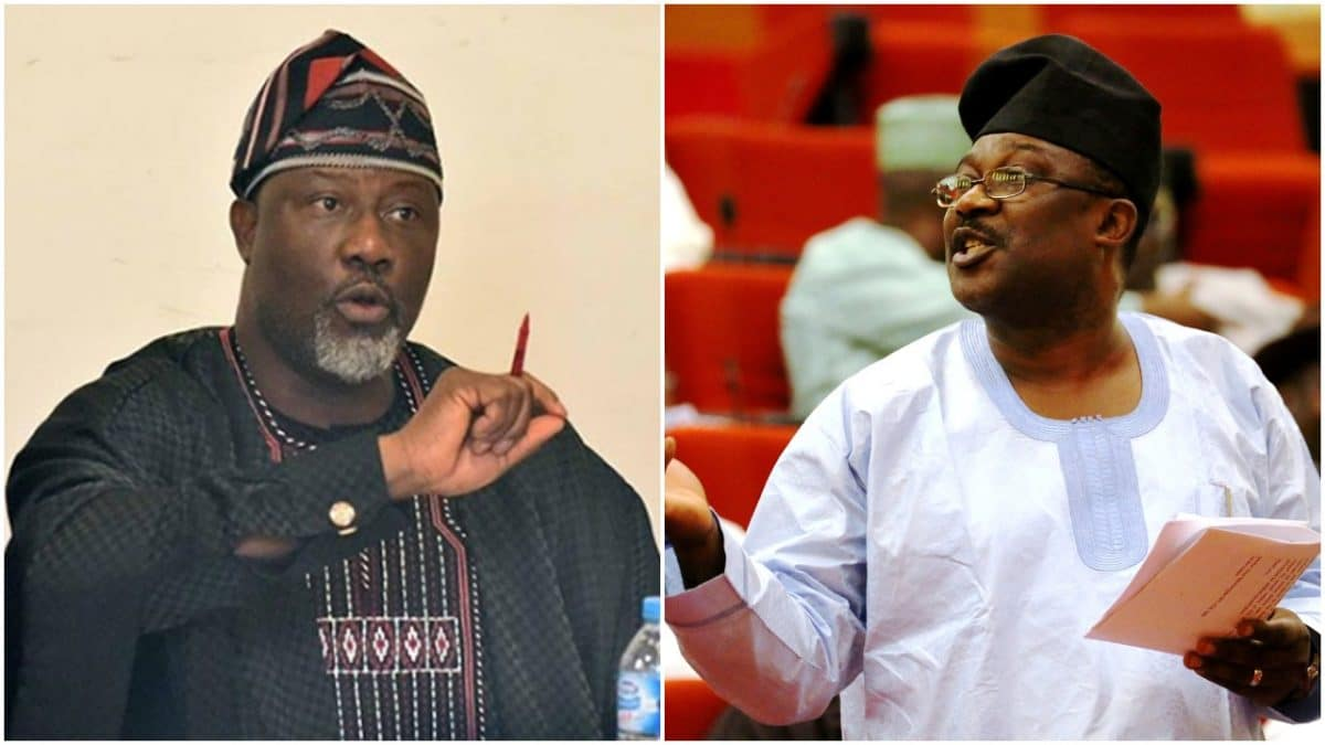 Collage photo of Dino Melaye and Smart Adeyemi
